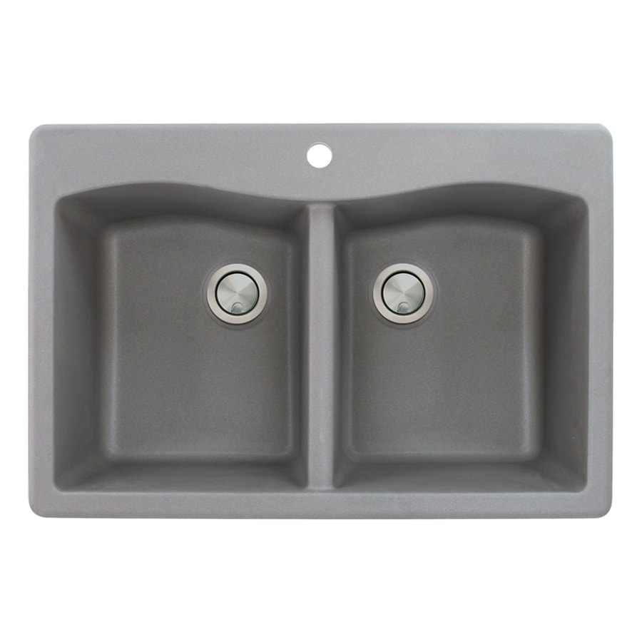 Transolid Aversa 22-in x 33-in Grey Double-Basin Granite Drop-In 1-Hole Residential Kitchen Sink