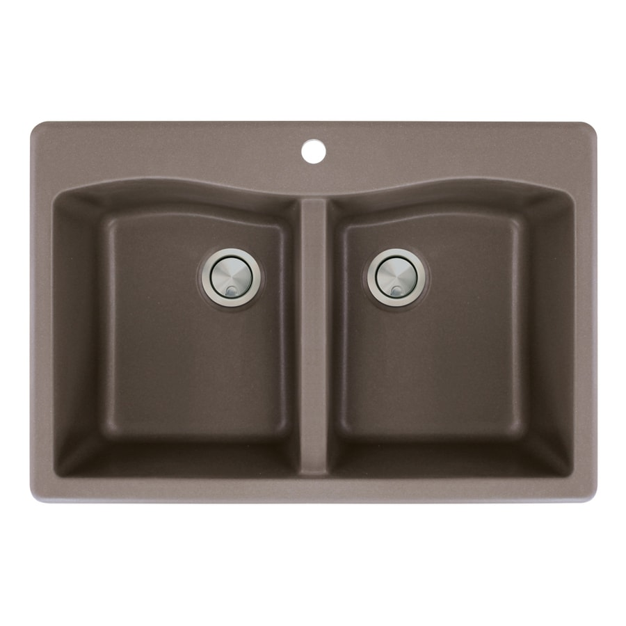 Transolid Aversa 22-in x 33-in Espresso Double-Basin Granite Drop-in 1-Hole Residential Kitchen Sink