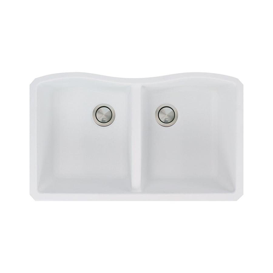 Transolid Aversa 19-in x 32-in White Double-Basin Granite Undermount  Residential Kitchen Sink
