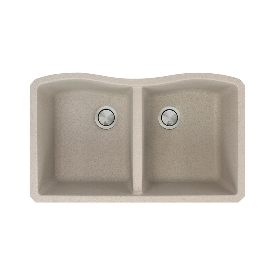 Transolid Aversa 19-in x 32-in Cafe Latte Double-Basin Granite Undermount Residential Kitchen Sink