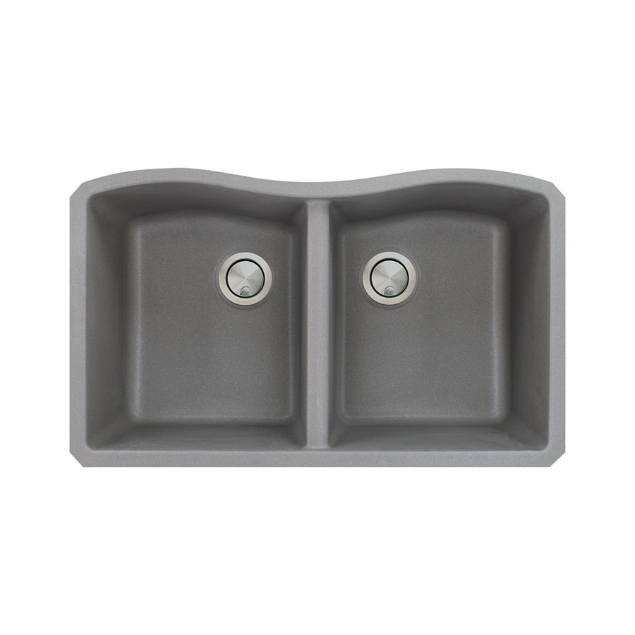 Transolid Aversa 19-in x 32-in Grey Single-Basin-Basin Granite Undermount (Customizable)-Hole Residential Kitchen Sink