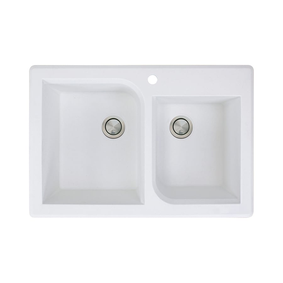 Transolid Radius 22-in x 33-in White Double-Basin Granite Drop-In 1-Hole Residential Kitchen Sink