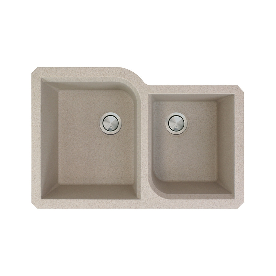 Transolid Radius 20-in x 31-in Cafe Latte Double-Basin Granite Undermount Residential Kitchen Sink