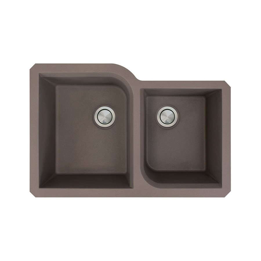 Transolid Radius 20-in x 31-in Espresso Double-Basin Granite Undermount Residential Kitchen Sink