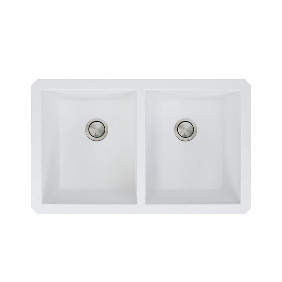 Transolid Radius 18.5-in x 31-in White Single-Basin-Basin Granite Undermount (Customizable)-Hole Residential Kitchen Sink