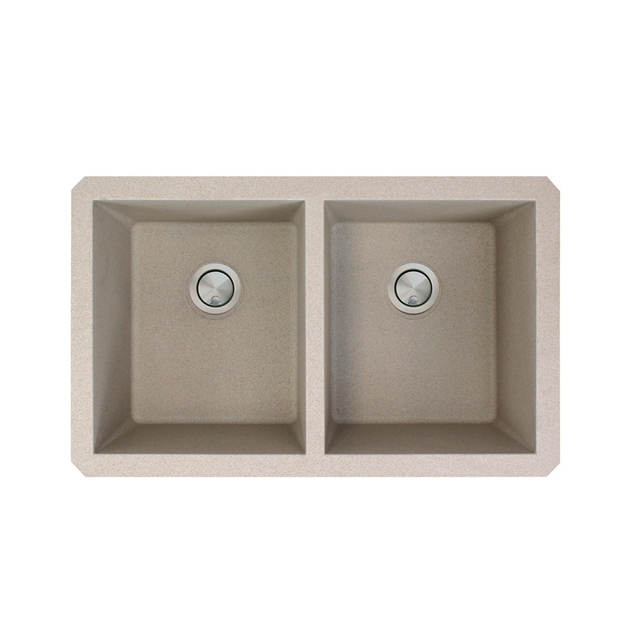 Transolid Radius 18.5-in x 31-in Cafe Latte 2 Granite Undermount (Customizable)-Hole Residential Kitchen Sink