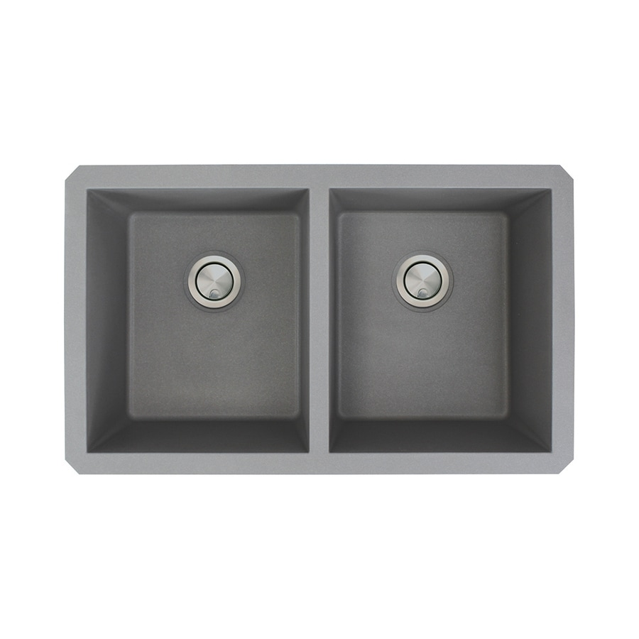 Transolid Radius 18.5-in x 31-in Grey 2 Granite Undermount (Customizable)-Hole Residential Kitchen Sink