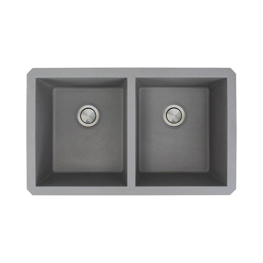 Transolid Radius 18.5-in x 31-in Grey Double-Basin Granite Undermount Residential Kitchen Sink