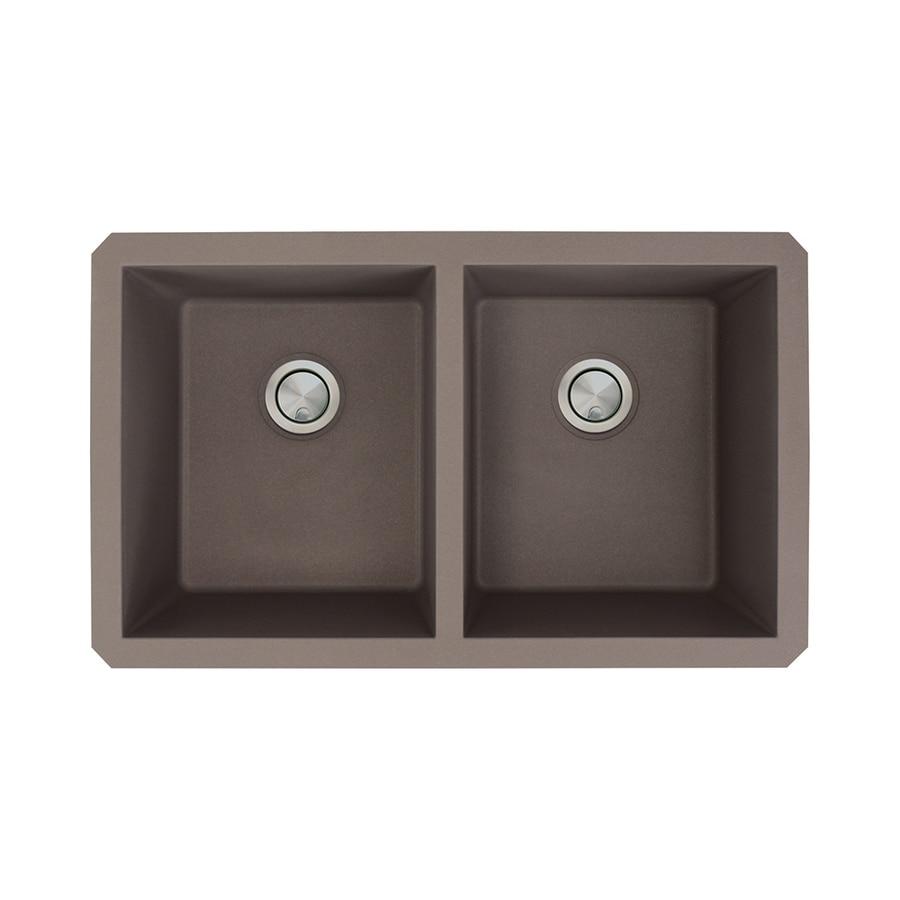 Transolid Radius 18.5-in x 31-in Espresso 2 Granite Undermount (Customizable)-Hole Residential Kitchen Sink