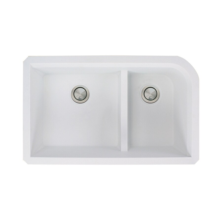 Transolid Radius 18.5-in x 31-in White Double-Basin Granite Undermount Residential Kitchen Sink