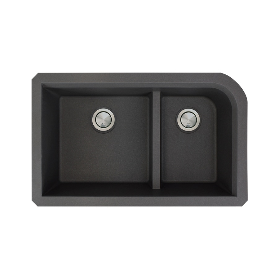 Transolid Radius 18.5-in x 31-in Black Double-Basin Granite Undermount Residential Kitchen Sink