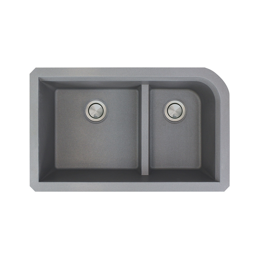 Transolid Radius 18.5-in x 31-in Grey Double-Basin Granite Undermount  Residential Kitchen Sink