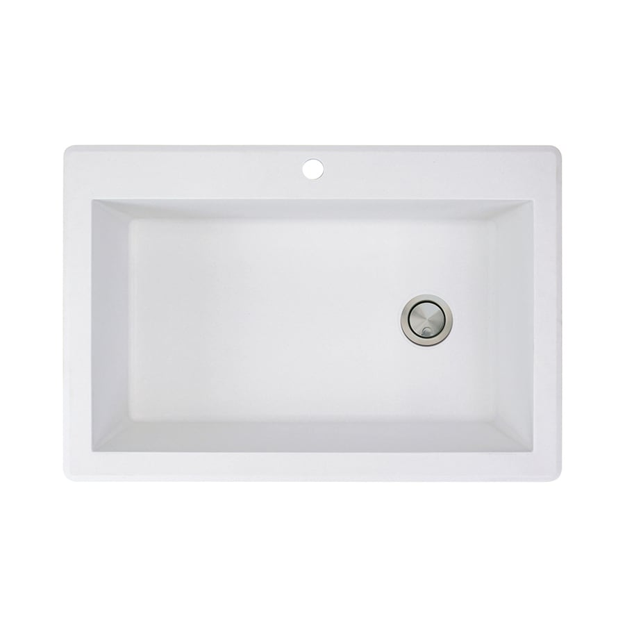 Transolid Radius 22-in x 33-in White 1 Granite Drop-in 1-Hole Residential Kitchen Sink