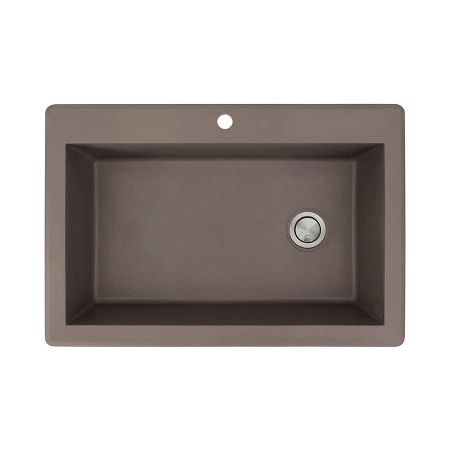 Transolid Radius 22-in x 33-in Espresso Single-Basin Granite Drop-In 1-Hole Residential Kitchen Sink