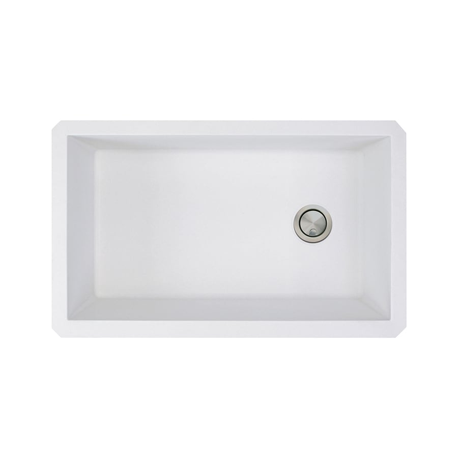 Transolid Radius 18.5-in x 31-in White Single-Basin Granite Undermount  Residential Kitchen Sink