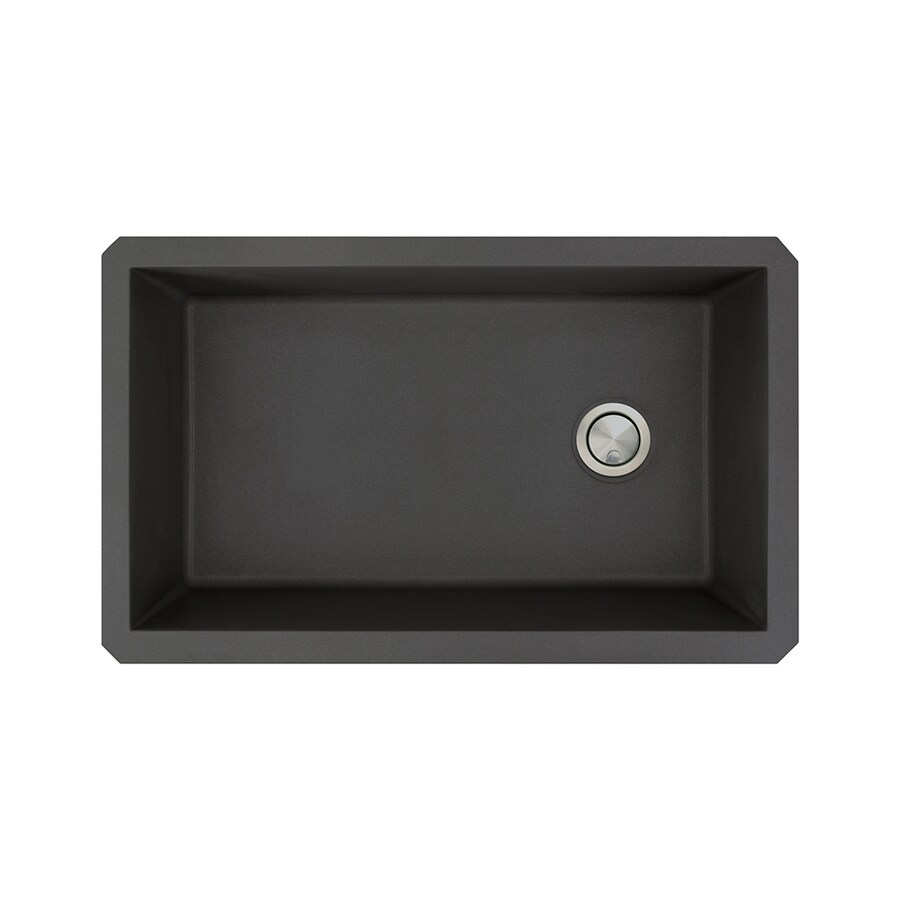 Transolid Radius 18.5-in x 31-in Black Single-Basin Granite Undermount Residential Kitchen Sink