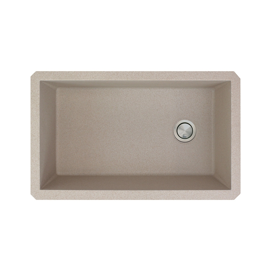 Transolid Radius 18.5-in x 31-in Cafe Latte Single-Basin Granite Undermount  Residential Kitchen Sink