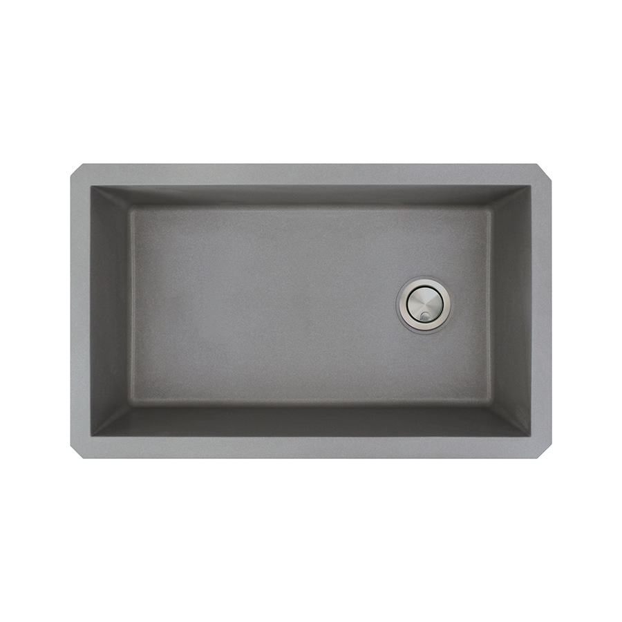 Transolid Radius 18.5-in x 31-in Grey 1 Granite Undermount (Customizable)-Hole Residential Kitchen Sink