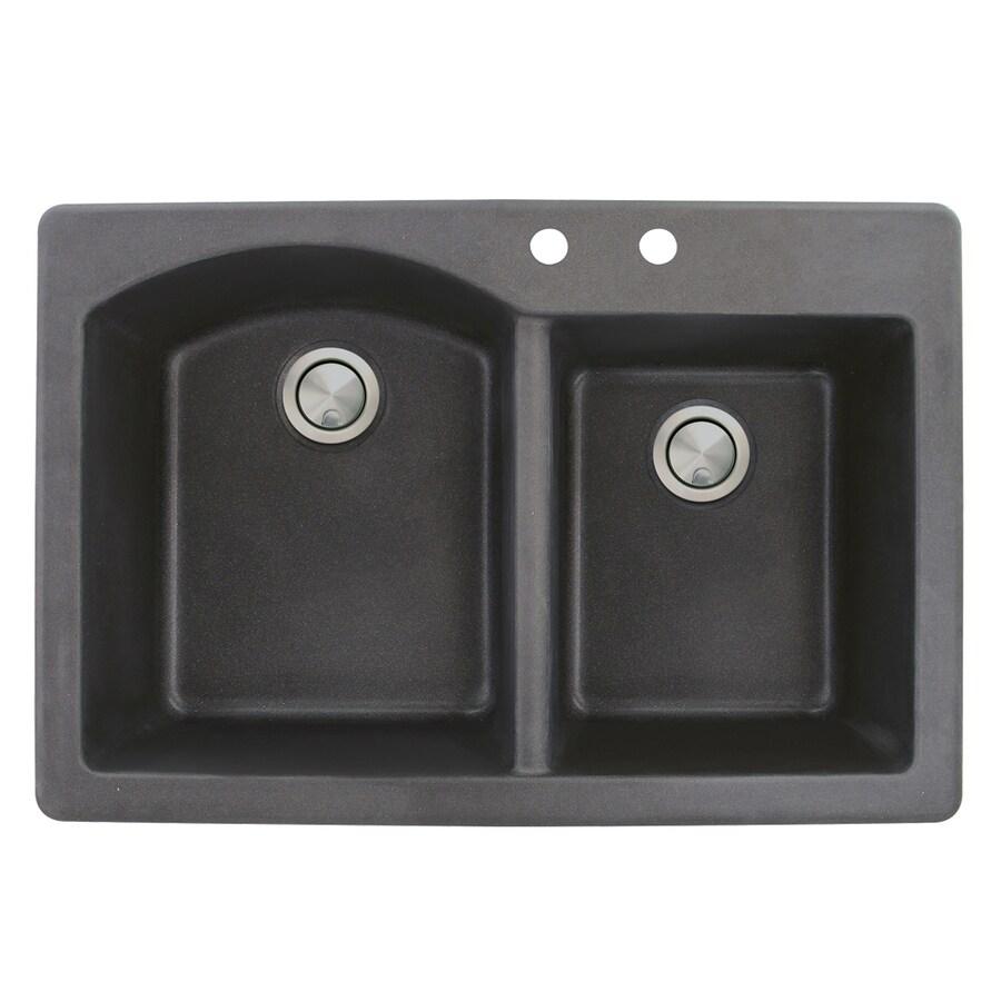 Transolid Aversa 22-in x 33-in Black Single-Basin-Basin Granite Drop-in 2-Hole Residential Kitchen Sink