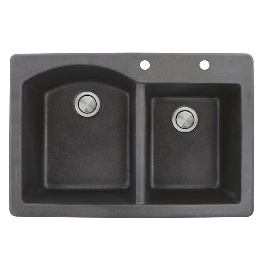 Transolid Aversa 22-in x 33-in Black Double-Basin Granite Drop-in 2-Hole Residential Kitchen Sink