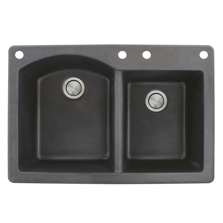 Transolid Aversa 22-in x 33-in Black Single-Basin-Basin Granite Drop-in 4-Hole Residential Kitchen Sink