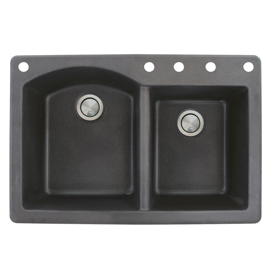 Transolid Aversa 22-in x 33-in Black Double-Basin Granite Drop-In 5-Hole Residential Kitchen Sink
