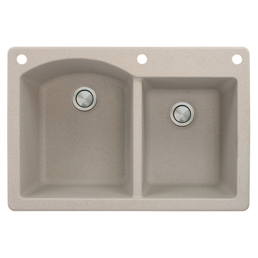 Transolid Aversa 22-in x 33-in Cafe Latte Double-Basin Granite Drop-In 3-Hole Residential Kitchen Sink