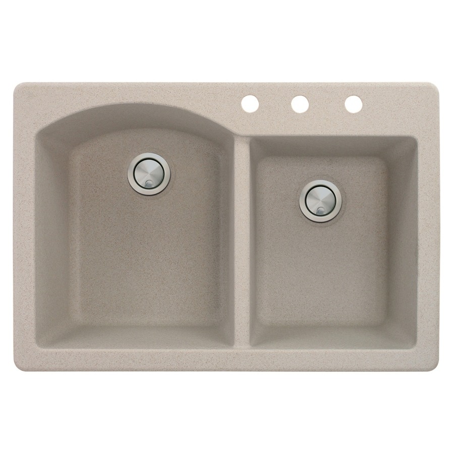 Transolid Aversa 22-in x 33-in Cafe Latte Single-Basin-Basin Granite Drop-in 3-Hole Residential Kitchen Sink