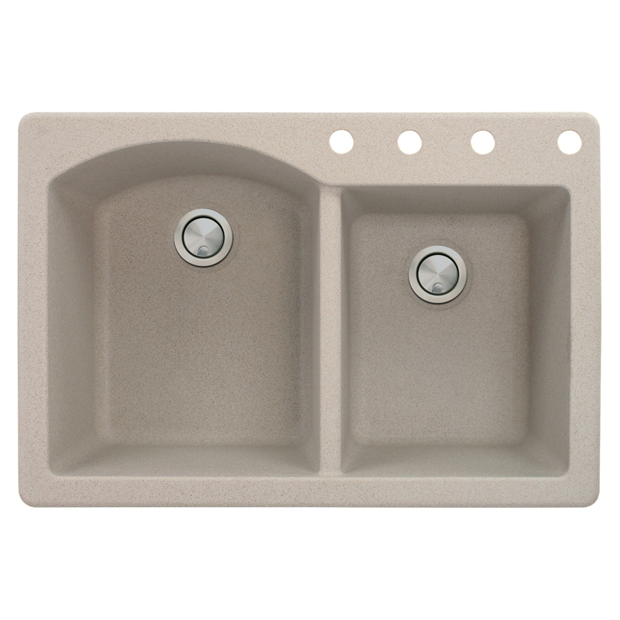 Transolid Aversa 22-in x 33-in Cafe Latte Double-Basin Granite Drop-in 4-Hole Residential Kitchen Sink