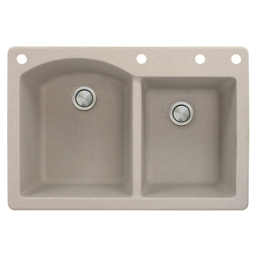 Transolid Aversa 22-in x 33-in Cafe Latte Single-Basin-Basin Granite Drop-in 4-Hole Residential Kitchen Sink