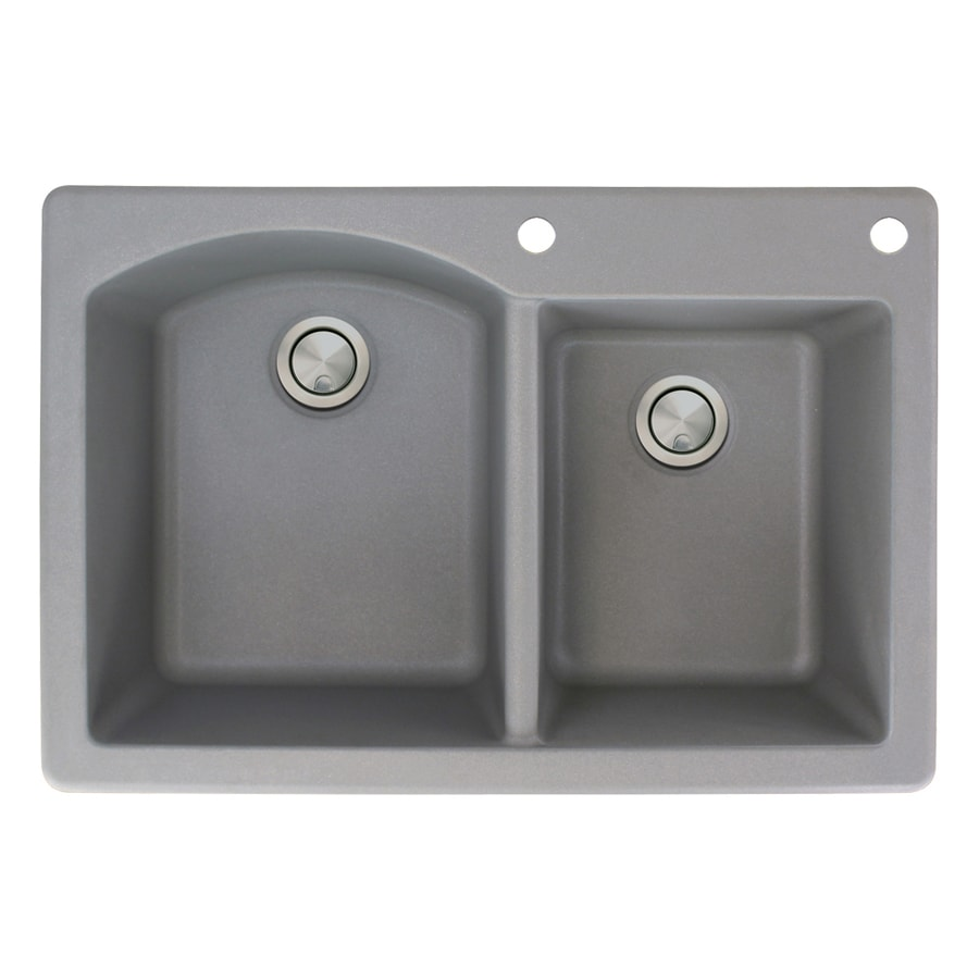 Transolid Aversa 22-in x 33-in Grey Double-Basin Granite Drop-in 2-Hole Residential Kitchen Sink