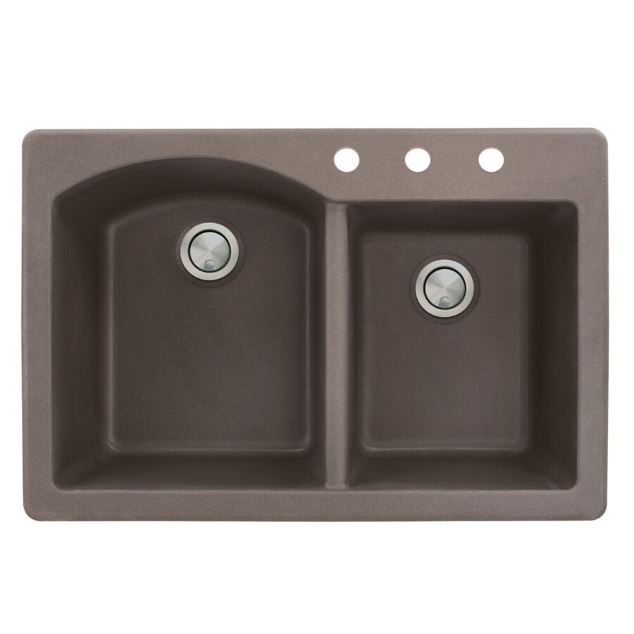 Transolid Aversa 22-in x 33-in Espresso Double-Basin Granite Drop-in 3-Hole Residential Kitchen Sink
