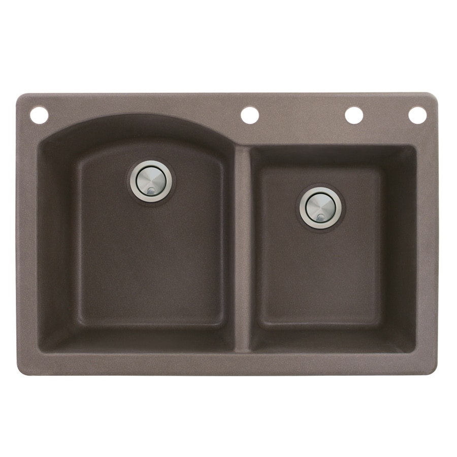 Transolid Aversa 22-in x 33-in Espresso Single-Basin-Basin Granite Drop-in 4-Hole Residential Kitchen Sink