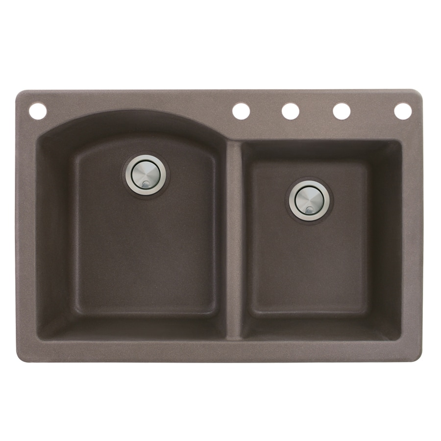 Transolid Aversa 22-in x 33-in Espresso Double-Basin Granite Drop-In 5-Hole Residential Kitchen Sink