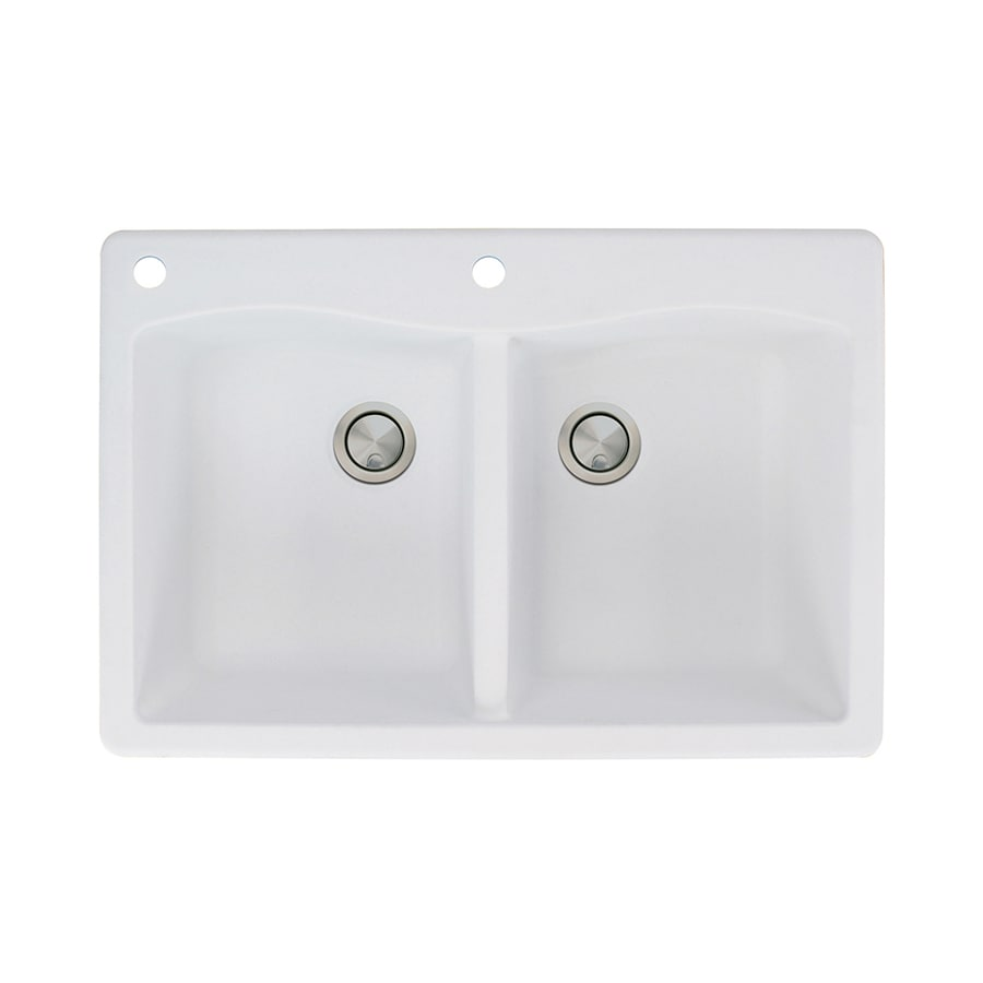 Transolid Aversa 22-in x 33-in White Single-Basin-Basin Granite Drop-in 2-Hole Residential Kitchen Sink