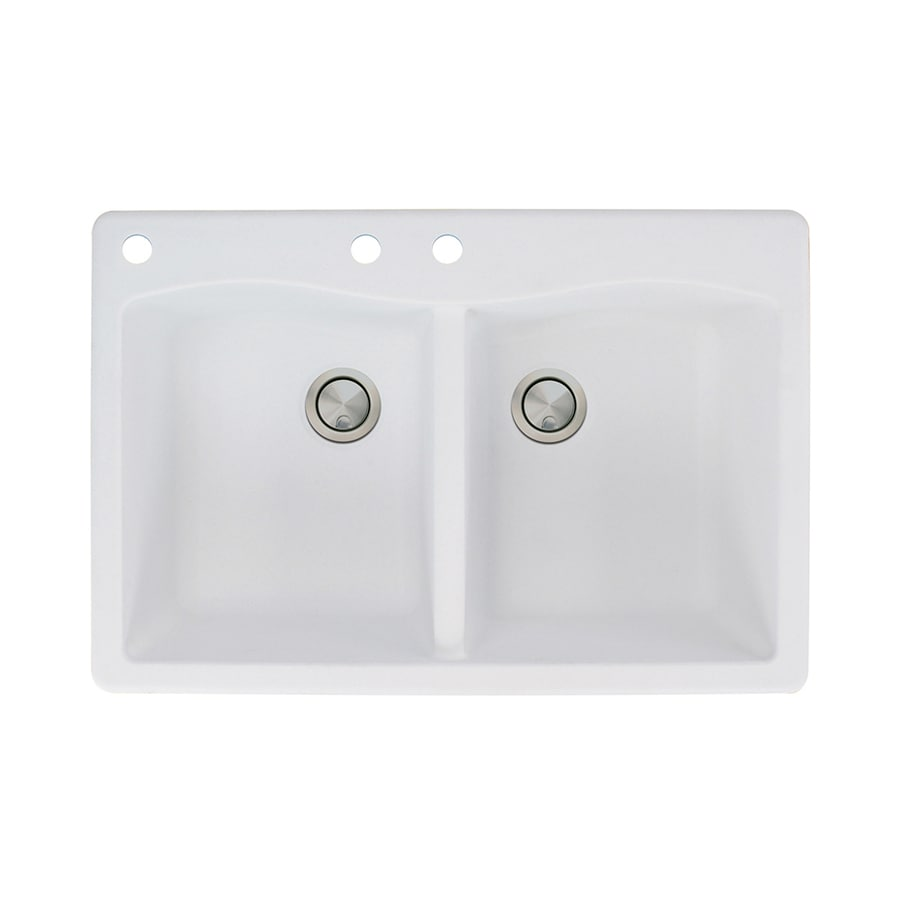 Transolid Aversa 22-in x 33-in White Double-Basin Granite Drop-In 3-Hole Residential Kitchen Sink