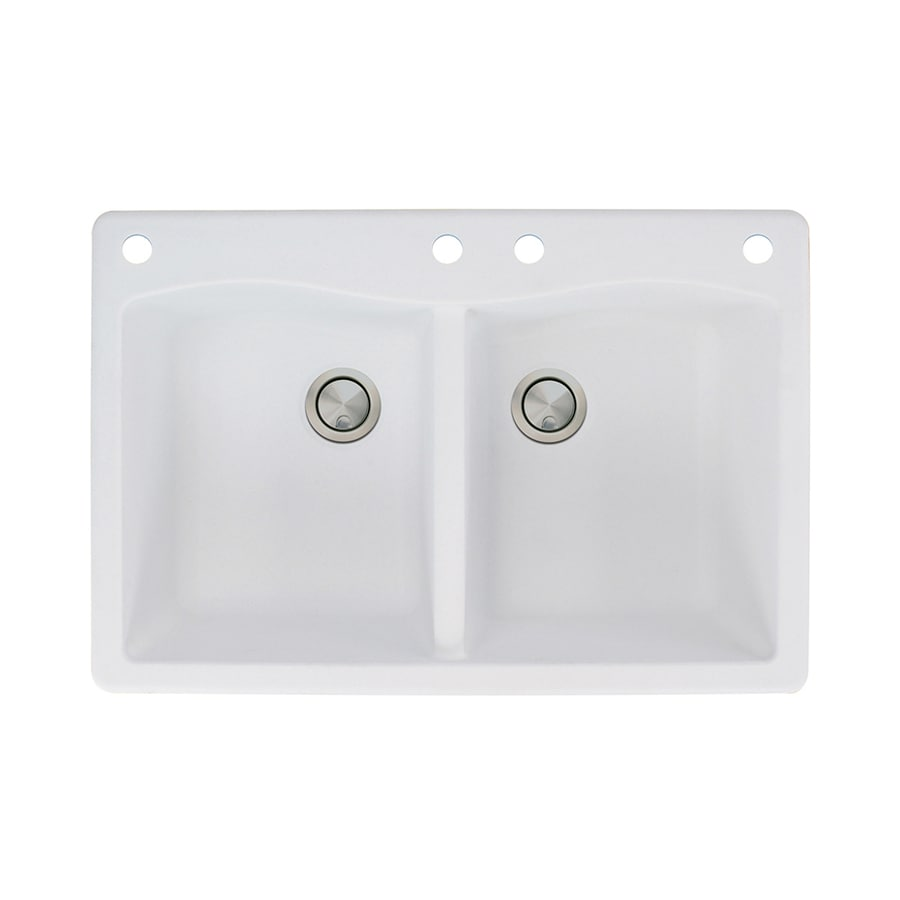 Transolid Aversa 22-in x 33-in White Double-Basin Granite Drop-In 4-Hole Residential Kitchen Sink
