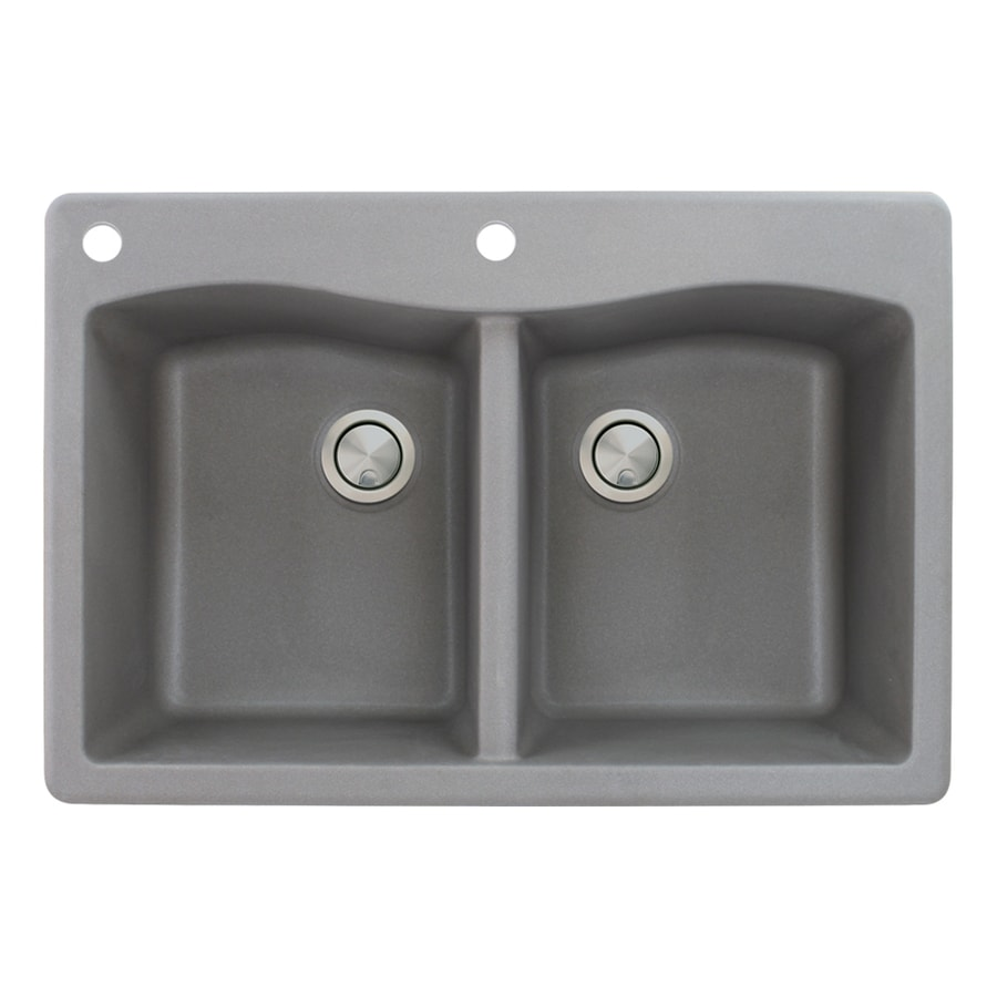 Transolid Aversa 22-in x 33-in Grey Single-Basin-Basin Granite Drop-in 2-Hole Residential Kitchen Sink