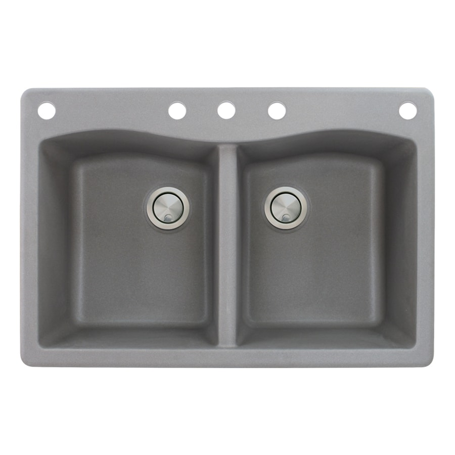 Transolid Aversa 22-in x 33-in Grey Double-Basin Granite Drop-In 5-Hole Residential Kitchen Sink