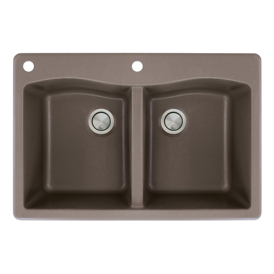 Transolid Aversa 22-in x 33-in Espresso Double-Basin Granite Drop-in 2-Hole Residential Kitchen Sink