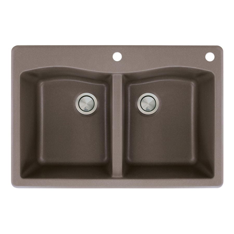 Transolid Aversa 22-in x 33-in Espresso Single-Basin-Basin Granite Drop-in 2-Hole Residential Kitchen Sink