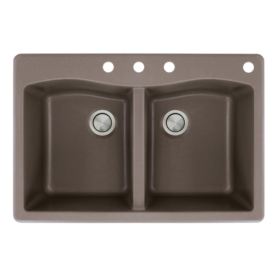 Transolid Aversa 22-in x 33-in Espresso Double-Basin Granite Drop-In 4-Hole Residential Kitchen Sink