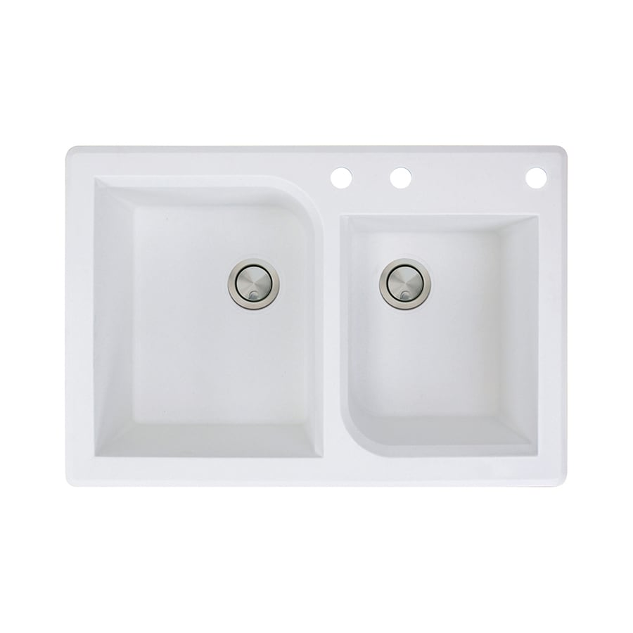 Transolid Radius 22-in x 33-in White Double-Basin Granite Drop-in 3-Hole Residential Kitchen Sink