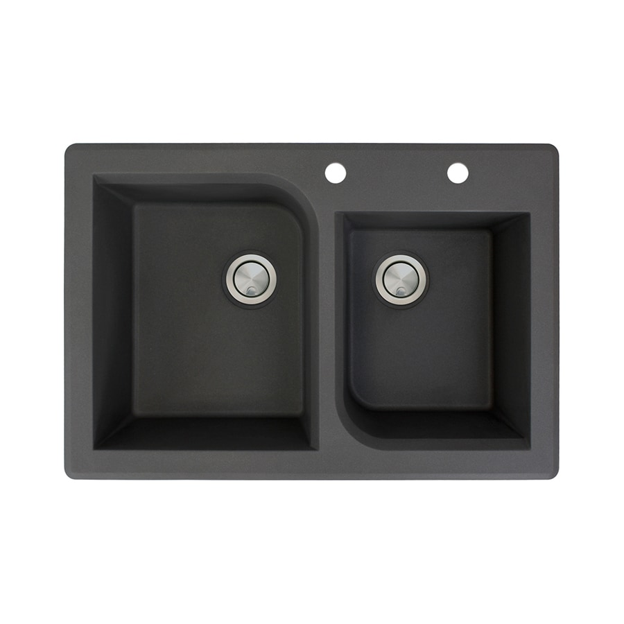 Transolid Radius 22-in x 33-in Black Double-Basin Granite Drop-In 2-Hole Residential Kitchen Sink