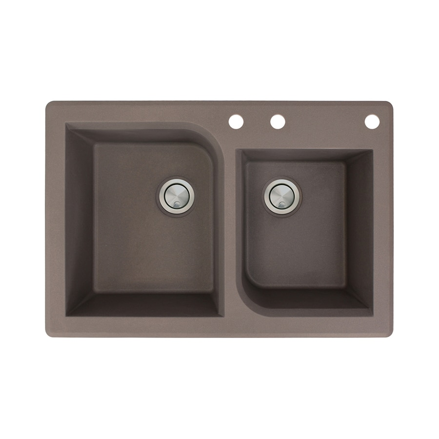 Transolid Radius 22-in x 33-in Espresso Single-Basin-Basin Granite Drop-in 3-Hole Residential Kitchen Sink