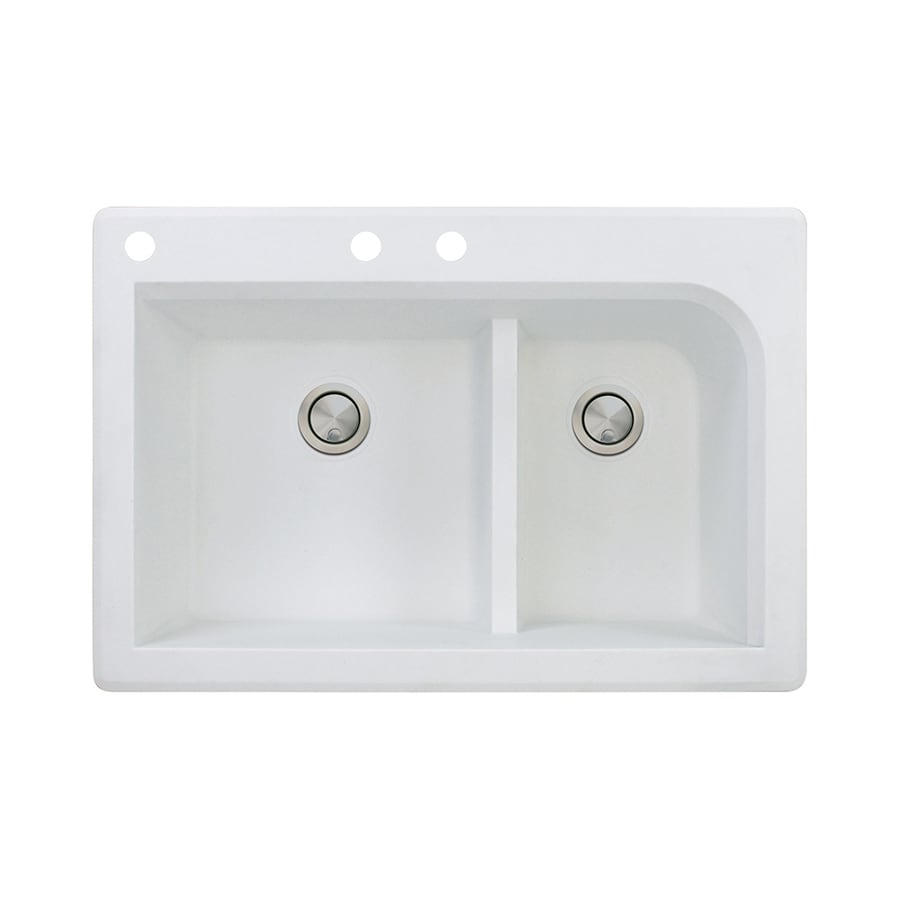 Transolid Radius 22-in x 33-in White Single-Basin-Basin Granite Drop-in 3-Hole Residential Kitchen Sink