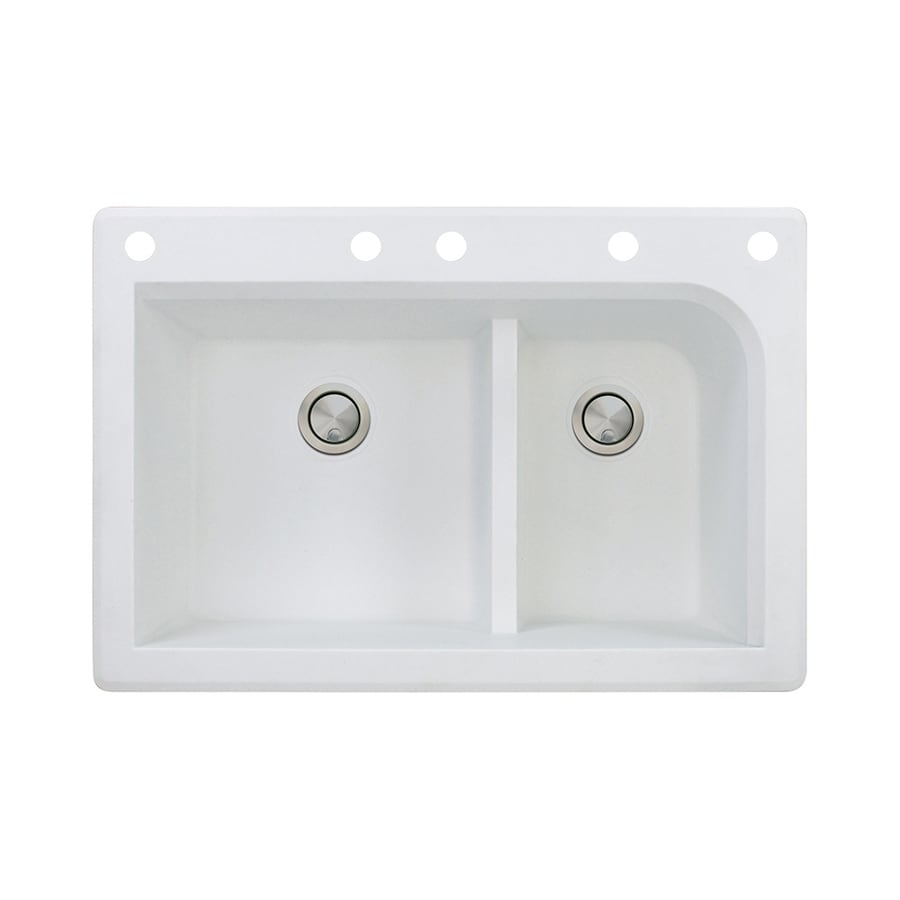Transolid Radius 22-in x 33-in White Double-Basin Granite Drop-in 5-Hole Residential Kitchen Sink