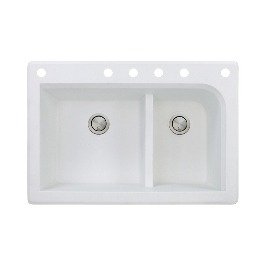 Transolid Radius 22-in x 33-in White Double-Basin Granite Drop-In 6-Hole Residential Kitchen Sink