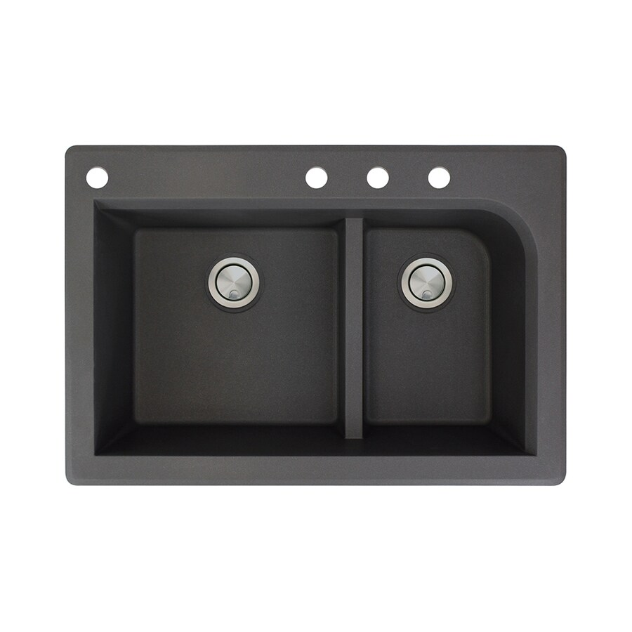 Transolid Radius 22-in x 33-in Black Double-Basin Granite Drop-In 4-Hole Residential Kitchen Sink