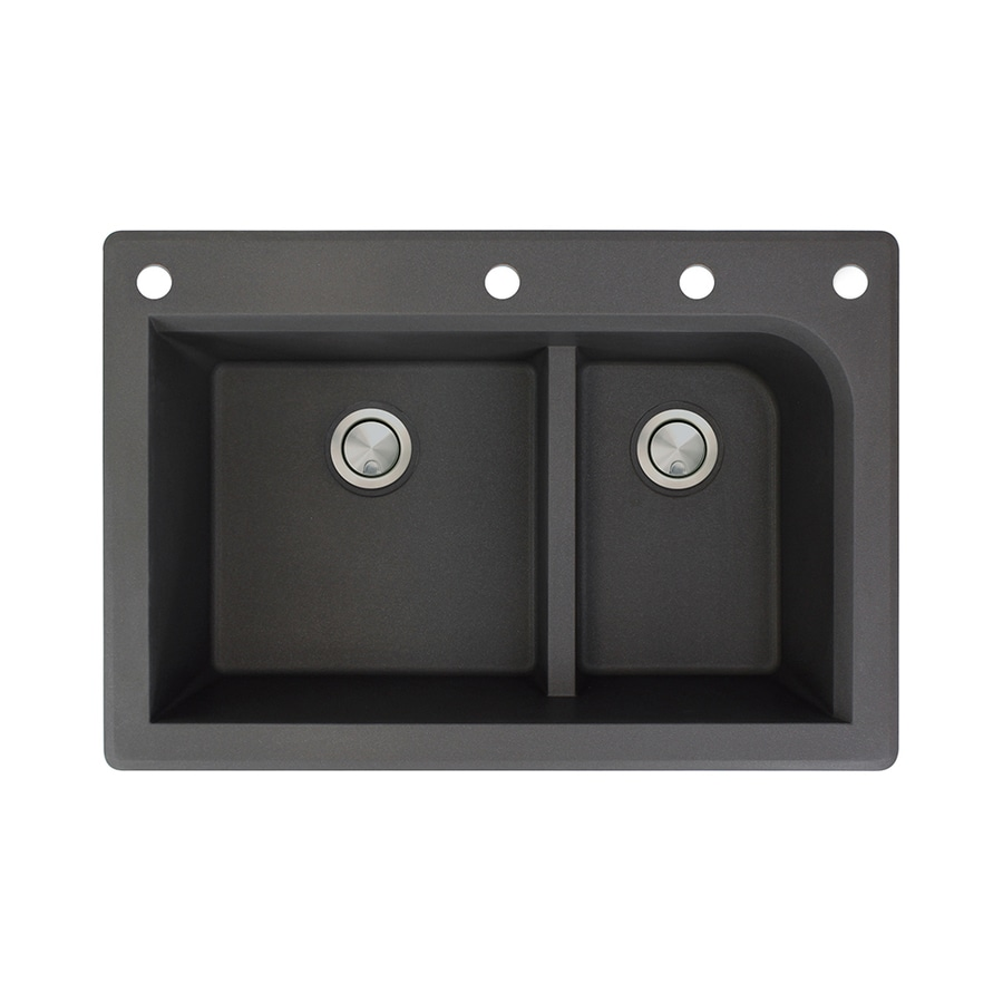 Transolid Radius 22-in x 33-in Black Single-Basin-Basin Granite Drop-in 4-Hole Residential Kitchen Sink